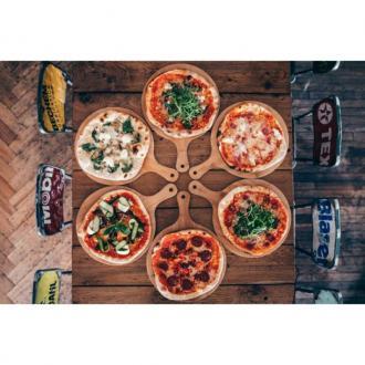 Дървена дъска за пица с дръжка, Ф32 см