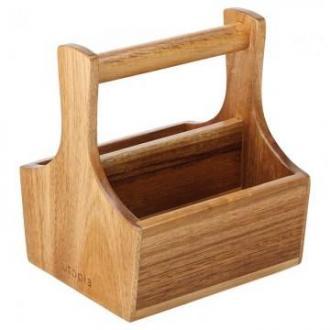 Дървена кошничка акация, поставка сол/пипер 14,5 x 13 см