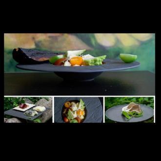 Луксозна черна порцеланова чиния 21 см