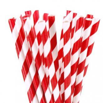 Комплект 250 бр хартиени сламки червени