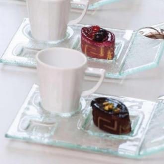 Стъклена чинийка за десерт 19,5х13,5 см