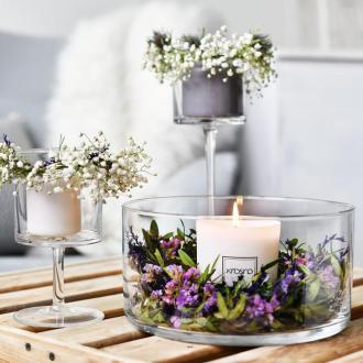 Стъклен свещник за голяма свещ вис.30 см